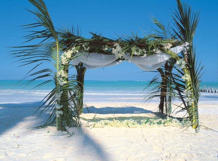 Palm leaf wedding canopy