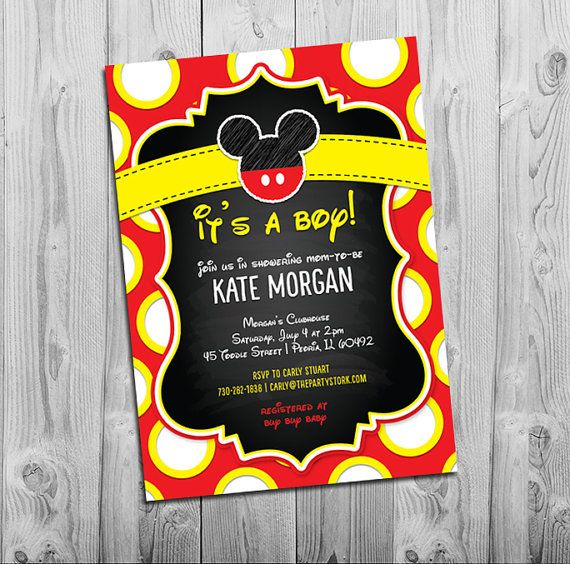 Hey, I found this really awesome Etsy listing at https://www.etsy.com/listing/197249292/mickey-mouse-baby-shower-invitation