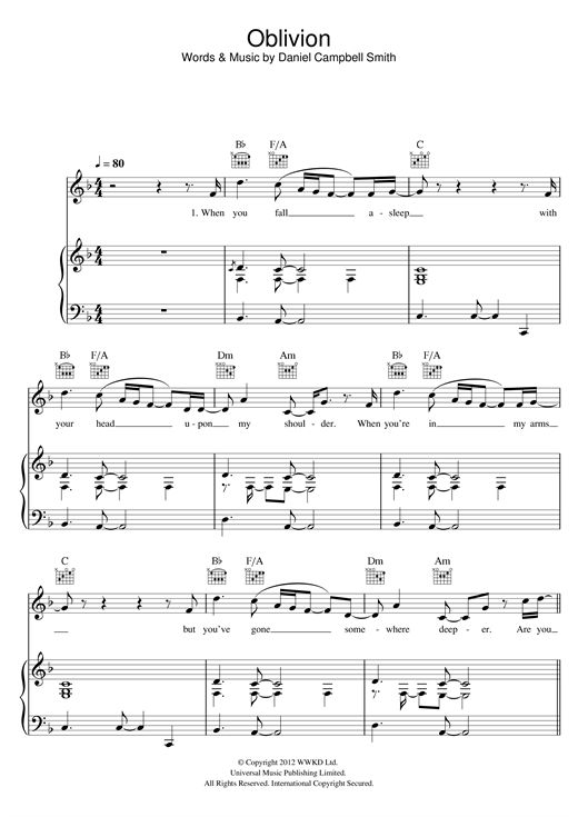 oblivion by bastille piano chords