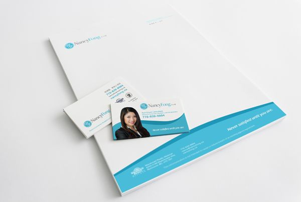 Business card and letterhead for Realtor Nancy Fong..