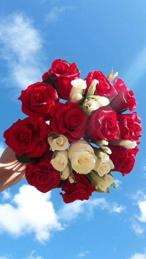 Big Red Crepe Paper Wedding Bouquet Birde Bouquet by moniaflowers