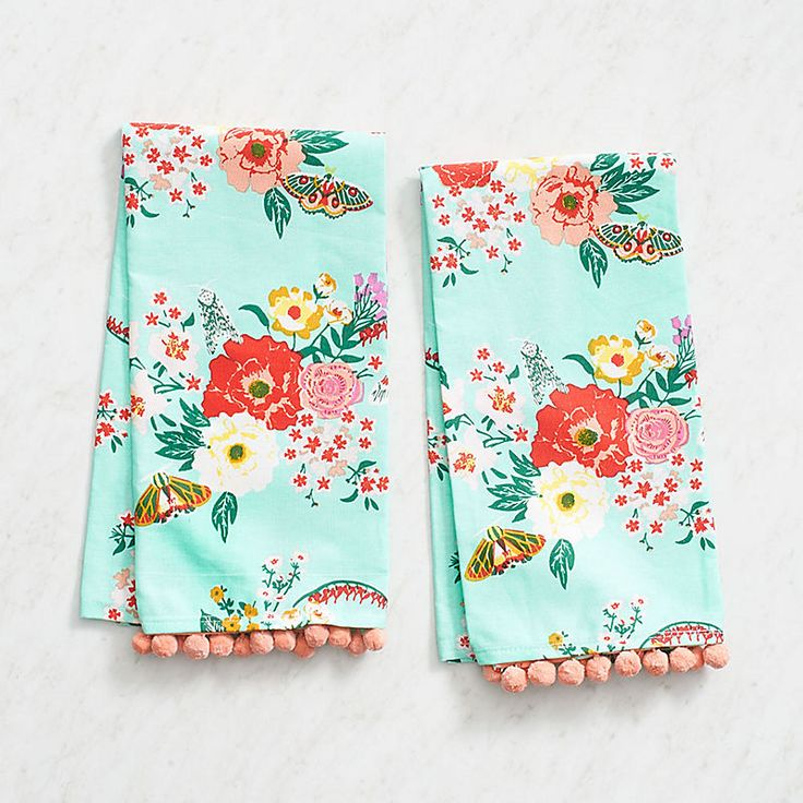 Decorate your kitchen with pops of color this spring! This set of two Mint Floral Tea Towels feature a mint floral pattern and coral tassels. Made in India from 100% cotton material. $19.95. Buy he…