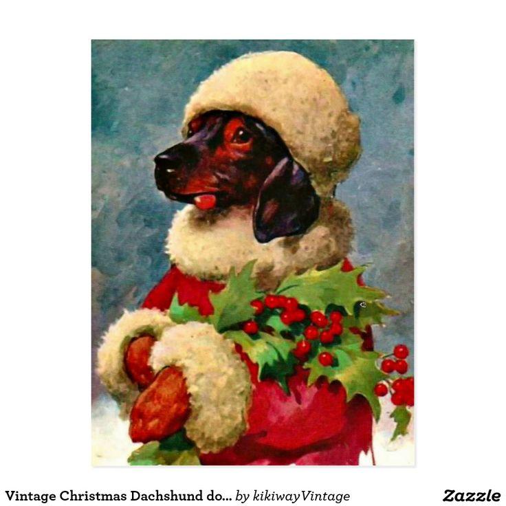 Vintage Christmas Dachshund dog illustration Postcard