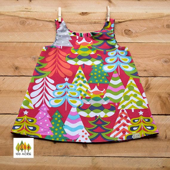 Reversible Christmas Jumper-dress. Red Treelicious by 100acreCo