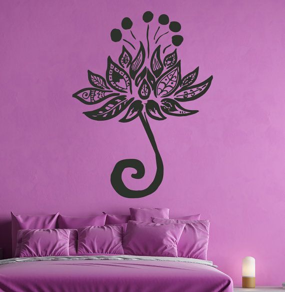 Flower Wall Decal Mandala Decals Lotus Vinyl Sticker Yoga Home Decor