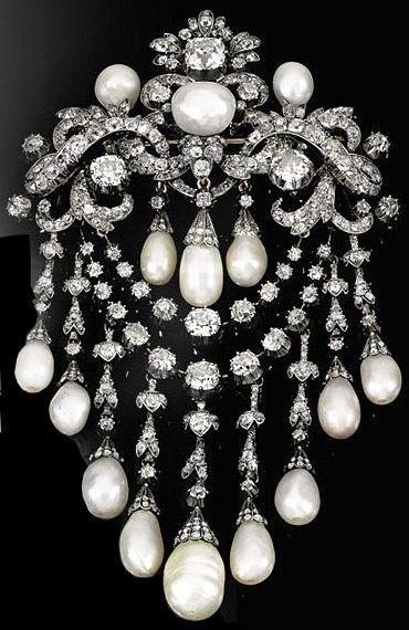 Pearl and diamond devant de corsage, circa 1850. The Property of H.S.H. Prince Carlo Della Torre ...