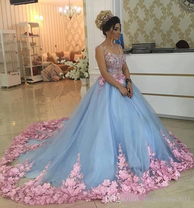 Baby Blue 3D Floral Masquerade Ball Gowns 2017 Luxury Cathedral Train  Flowers Quinceanera Dresses Prom Gowns Sweety Girls 16 Years Dress  440b5c98075f