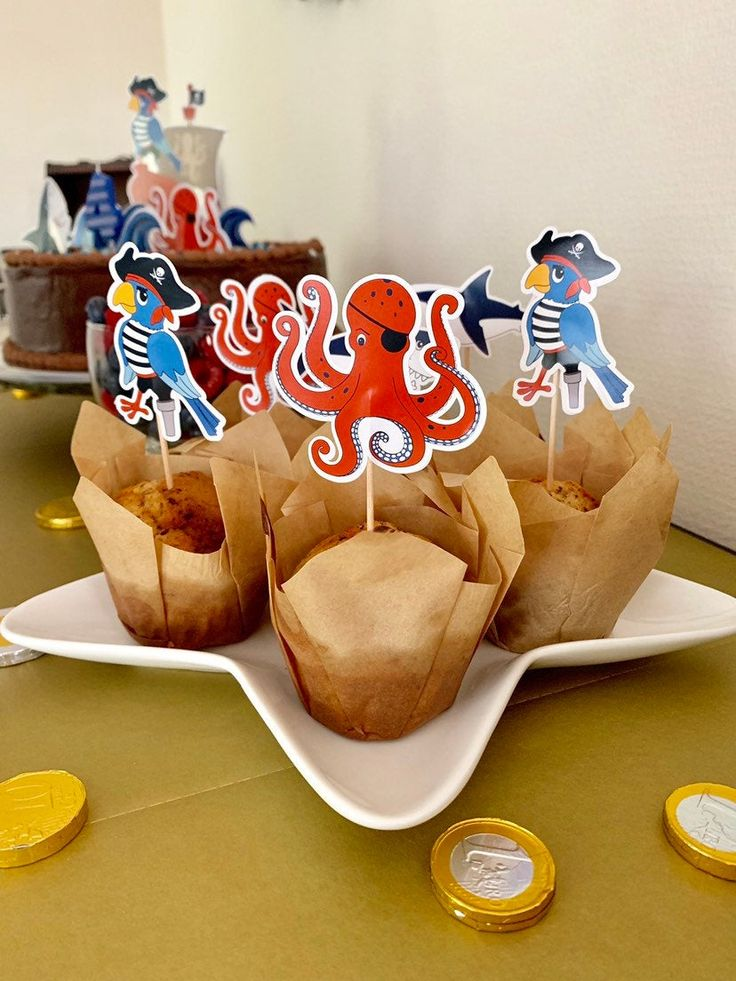 Piraten Cupcake Topper, Geburtstag Cupcakes, Piraten Geburtstagsparty, Piratenkuchen, Piraten Kindergeburtstag, DIY Muffin Dekoration – 12er – Kindergeburtstag Piraten Party