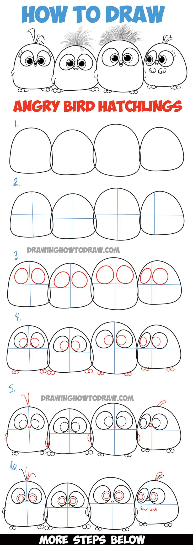 Learn How To Draw Angry Bird Hatchlings Baby Birds  Step By Step Drawing…
