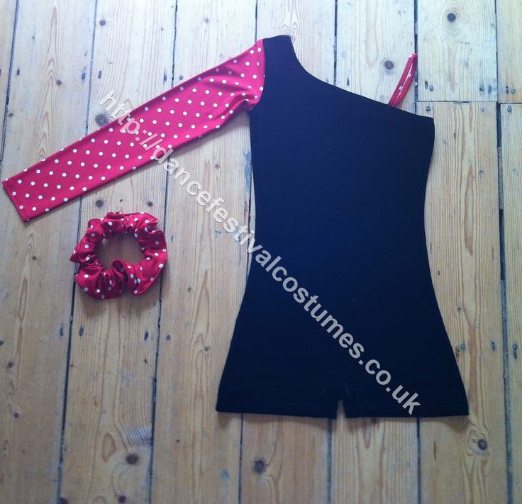 Red and white spotty girls dance costume, for dance festival, eisteddfod and competition solo work.  Also lovely as duet costume , costume reversible so each girl could wear same way or opposite way round, also available in black and white spot.