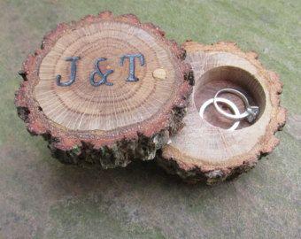Wedding Ring Bearer Pillow Box His and Hers by EndGrainWoodShoppe