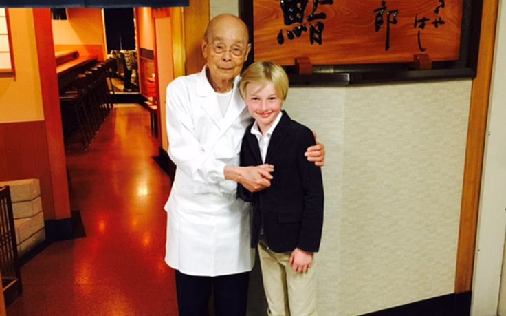 Chef Jiro Ono With His Youngest Customer Ever To Dine At Sukiyabashi Jiro. -TL #JiroDreamsOfSushi
