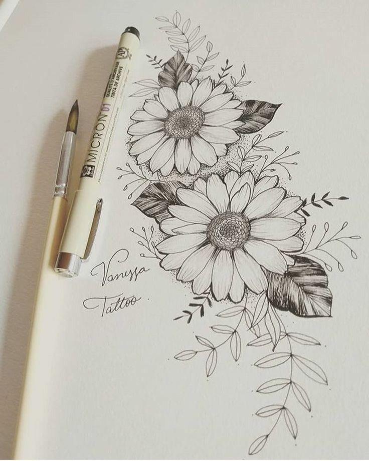 Girasol Con Imagenes Tatuajes Al Azar Flores Dibujadas A
