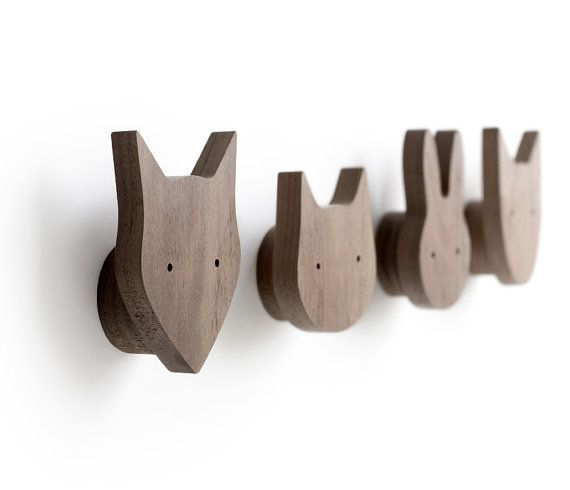Limited sets remaining!  Set of 4 animal wall hooks - cat, dog, fox and rabbit. Animals not sold separately.  These hooks are perfect for clothes