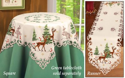 Embroidered Northwoods Table Linens