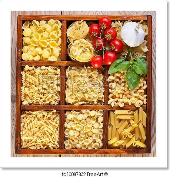Pasta variety in a compartmented box - Artwork  - Art Print from FreeArt.com