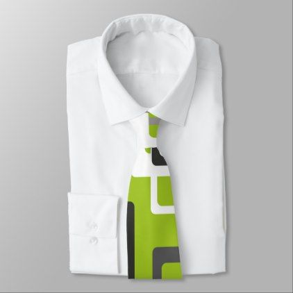 Trendy Lime Green and gray Geometric Squares Mens Tie - modern gifts cyo gift ideas personalize