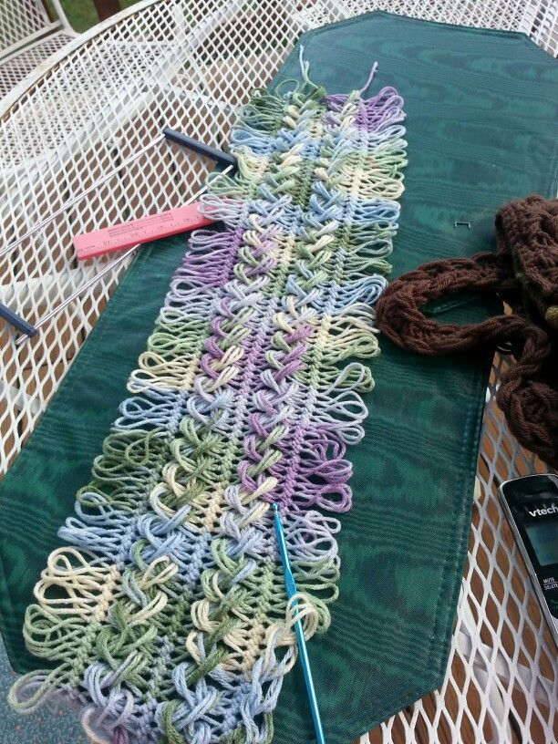 Hairpin lace scarf -in progress