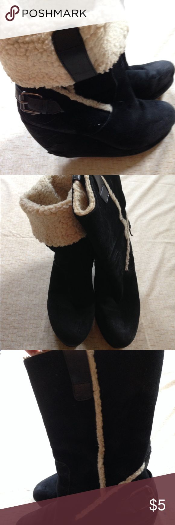 Nine West Black Winter Wedge Boots - Size 8 Nine West Women's Wedge Winter Boots - Size 8  Very worn Heels are in bad shape  They can be cuffed down or worn up.   Questions please ask Nine West Shoes Winter & Rain Boots