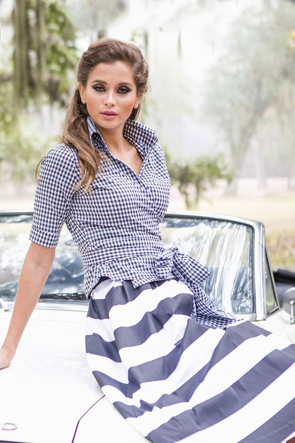 Shabby Apple Country Wrap Top Black and White Gingham