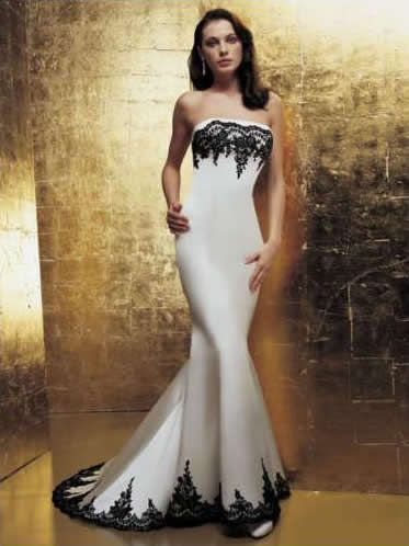 Black and white wedding dress Love how sophisticated this dress looks. Sleek and beautiful.  #bridal dress, #wedding