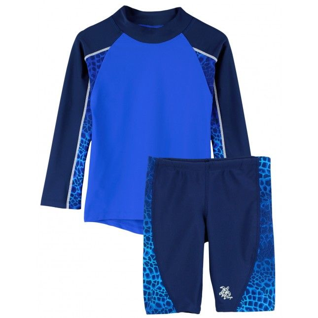 TUGA: Boy's UV Protective Tube Longsleeve Rashguard Shirt and Jammer Shorts Set in Turtle Print. Click Image to SHOP ONLINE!