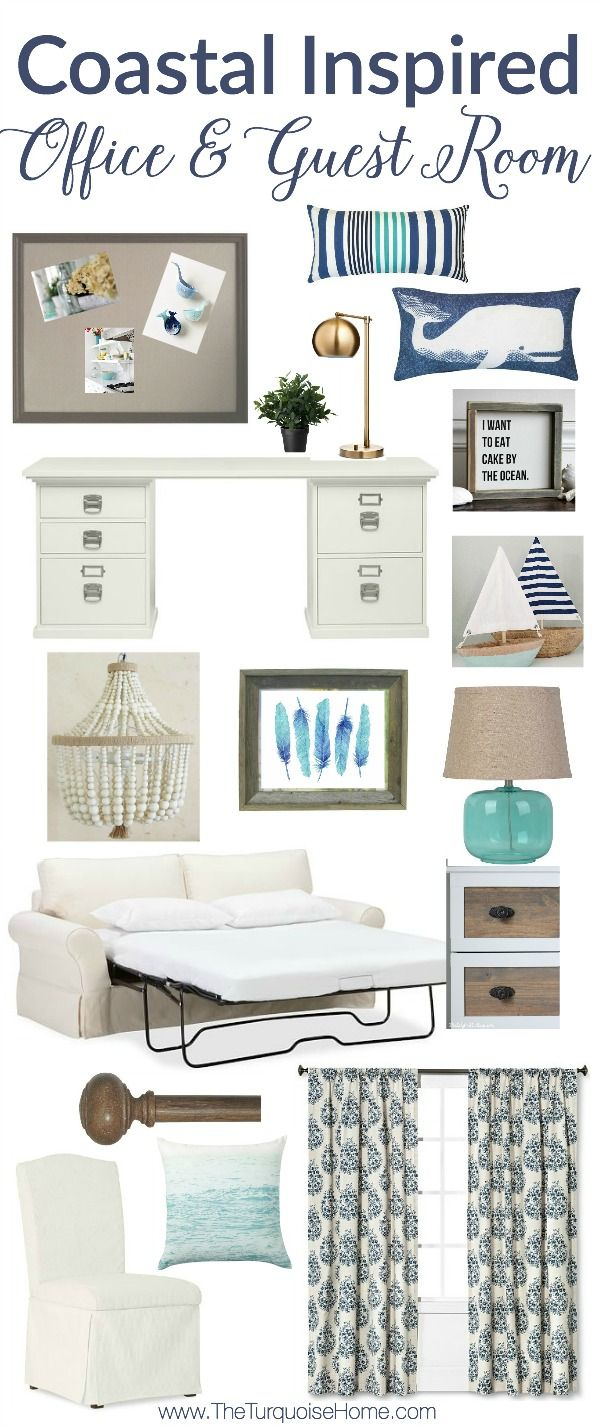 LOVE those pops of blue!! This coastal inspired guest bedroom and office combo is soothing and peaceful. Perfect for a long work day and for your guests to rest at night. | Get the Look at TheTurquoiseHome.com