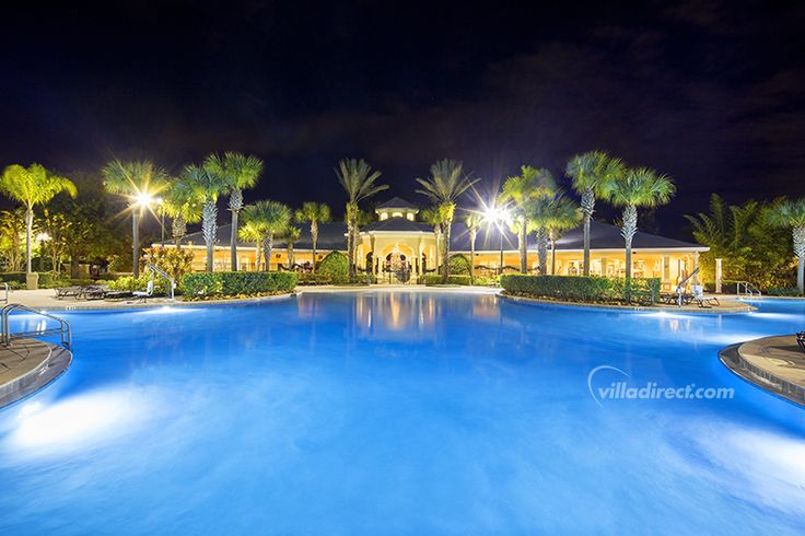 The lagoon-style pool at Windsor Hills Resort is the perfect place for a nighttime swim: https://www.villadirect.com/orlando-communities-resorts/Windsor-Hills.html