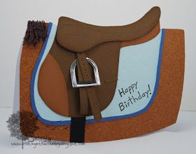 horse card birthday saddle equestrian