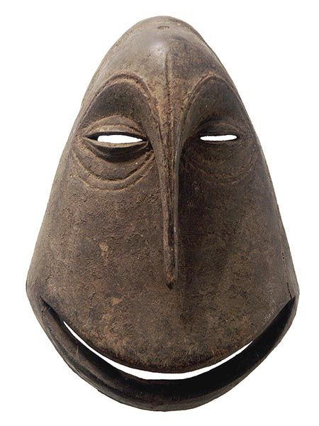 """Democratic Republic of Congo, Hemba people - The extremely stylized chimpanzee masks are called mwisi gwa so'o a term that alludes to the """"spirit-ivested object of the chimpanzee human"""" that inhabits the mask"""