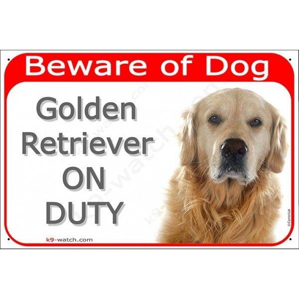 Golden Retriever Head Gate Plaque Beware Of Dog On Duty Sign Placard Panel Beware Of Dog Golden Retriever Dogs