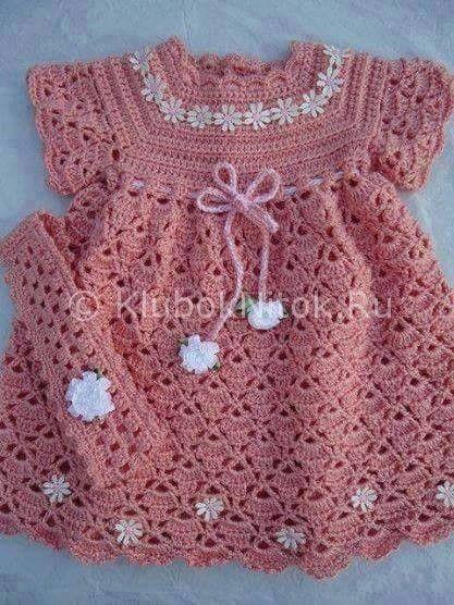 Вязаное платье крючком   Вязание для девочек   Вязание спицами и крючком. Схемы вязания.