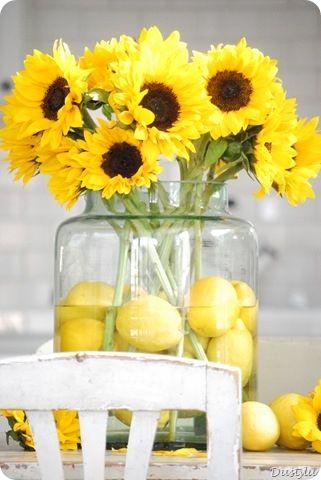 Lemons and sunflowers. Bright, happy, vibrant centerpiece.
