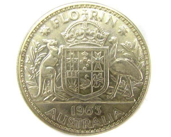 UNC AUSTRALIAN COAT OF ARMS 1963 FLORIN SILVER COIN CO916 australian silver coins, silver coins