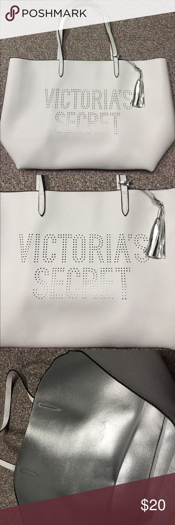 Victoria's Secret Tote Brand New VS Tote. Bright white with Metallic Silver interior Victoria's Secret Bags Totes