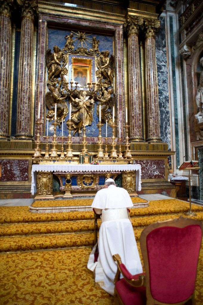Pope Francis often prays before the icon of Mary, painted by St. Luke, at St. Mary Major basilica in Rome.