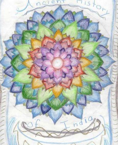 Waldorf ~ 5th grade ~ Ancient India ~ Title Page ~ Lotus Mandala ~ main lesson book
