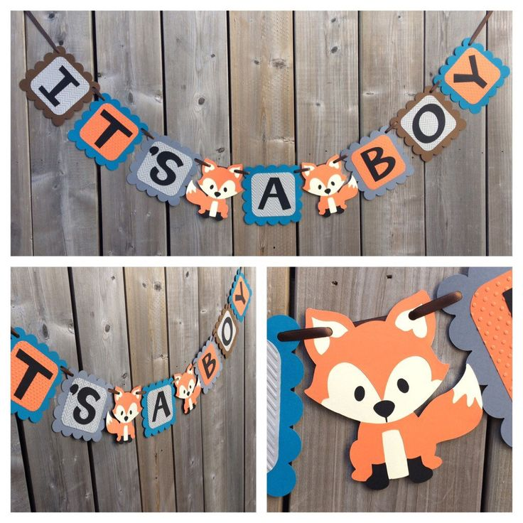 fox themed baby shower blue orange fox banner fox baby shower