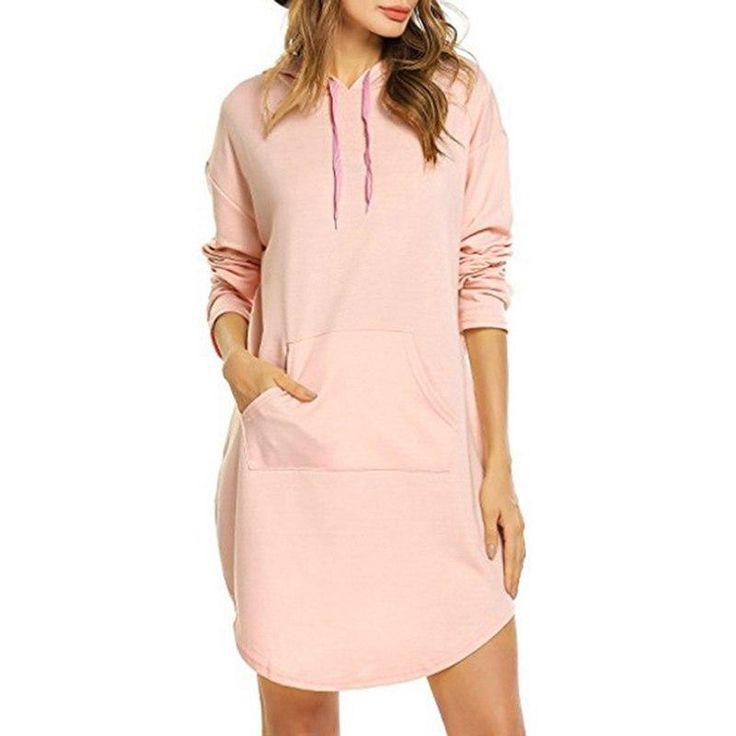 Women Spring Autumn Winter Fleeces Hoodies Sweatshirt Drawstring Long Sleeves Dress 5