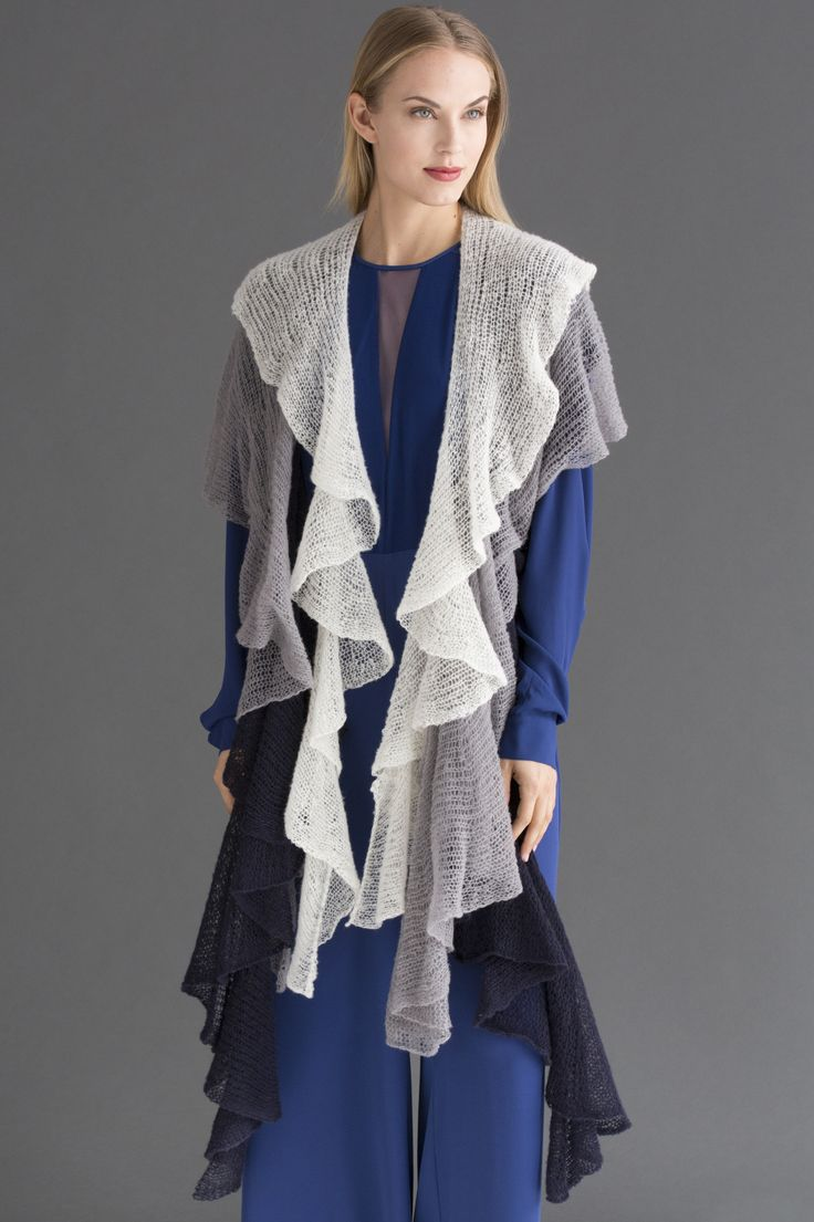 Ariel Spiral Scarf Trio in SUPERIOR: SUPERIOR's ethereal drape is highlighted in this series of light and lofty scarves. Short-rows create the spiral effect.