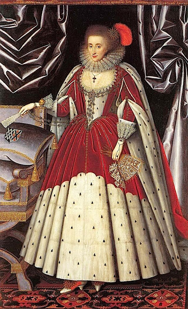 ca. 1616 Lucy Harrington (National Portrait Gallery, London UK). Court dress in 1603 was based on the wheel farthingale; in 1616 court dress is based on a hooped skirt with a conical shape maybe from a plain farthingale.