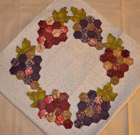 Hello Everyone,       The hexie grapes are finished.  They just need to be appliqued to the background, and the center for this quilt is fi...