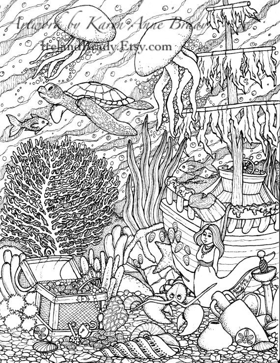 Advanced Ocean Coloring Pages : Ocean coloring pages colouring adult detailed advanced
