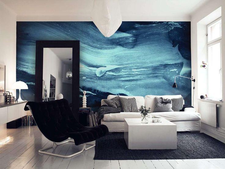 Abstrakt blå tapet | Fototapet | Kunst | Lys blå | Mørk grå
