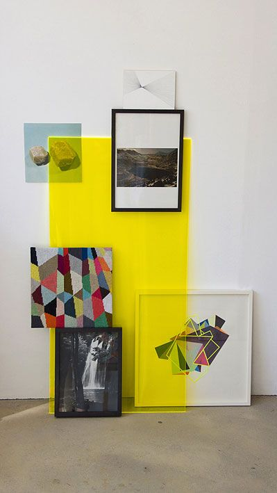 {plexi} glass + layers.. depth of field! - yellow, plexiglass, art, frames, display, exhibit -