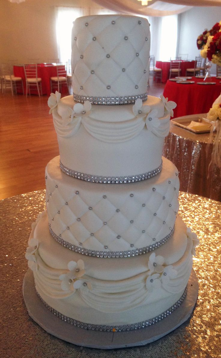 Classic wedding cake with a touch of bling.  Wedding held at Chale Gardens, in Riverdale, GA