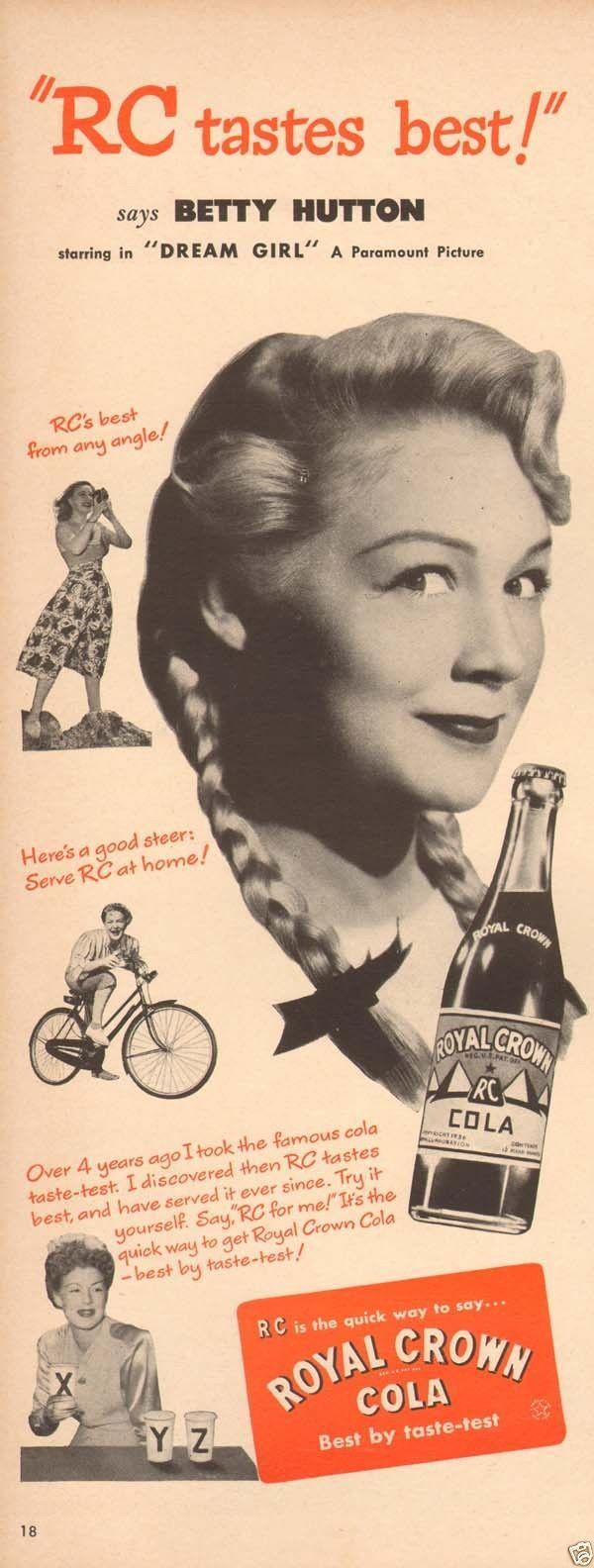 Betty hutton royal crown cola circa 1940s