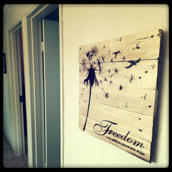 Pallet Art Freedom. 50cm x 50cm stained black with our design and finished off with an outdoor varnish.