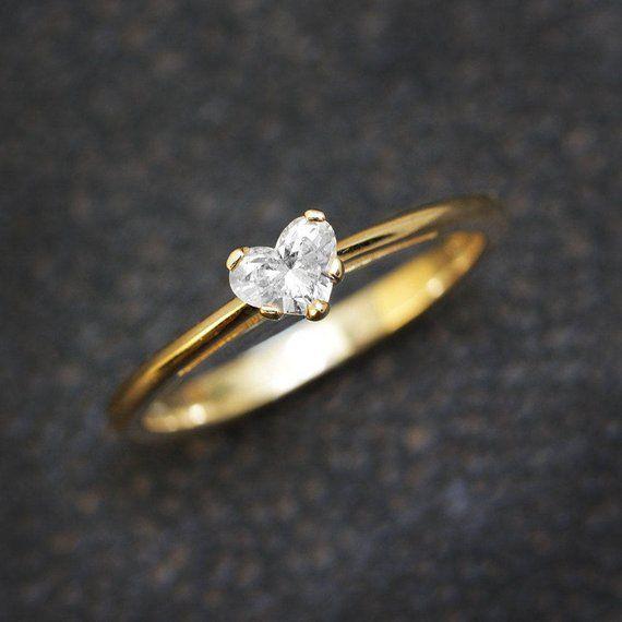 Solitar Verlobungsring Herz Diamant Ring 14k Weissgold Ring Etsy Heart Engagement Rings White Gold Rings White Gold Ring Band