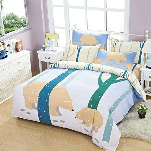 Amazon.com: DS DUVET STAR Plain Winter Bear Cartoon 3pc Duvet Cover Set Kawaii Cute for Kids Baby Children: Home & Kitchen